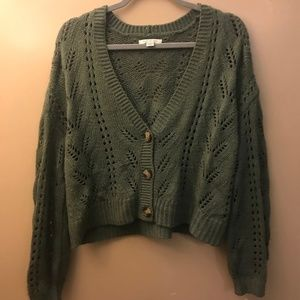Army Green Chunky Cropped Cardigan